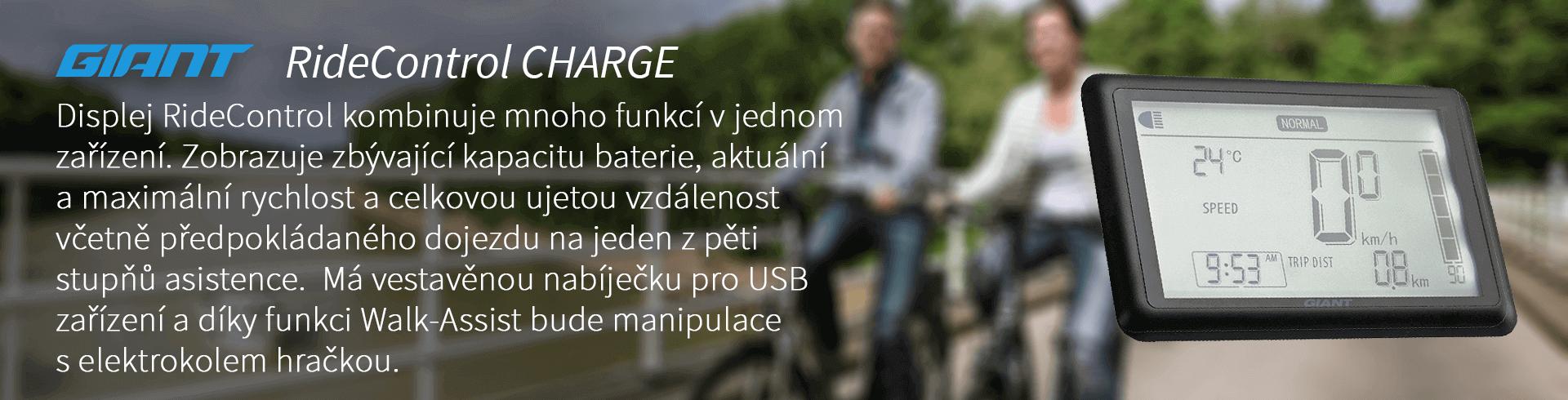 Displej RideControl Charge kombinuje mnoh ofunkcí v jednom zařízení. Zobrazuje zbývající kapacitu baterie, aktuální a maximální rychlost a celkovou ujetou vzdálenost včetně předpokládaného dojezdu na jeden z pěti stupňů asistence. Má vestavěnou nabíječku pro USB zařízení a díky funkci Walk Assist bude manipulace s elektrokolem hračkou.